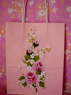 Gift Bag Hand Painted Pink Roses Paper Gift Bag by pinkrose1611, $4.50