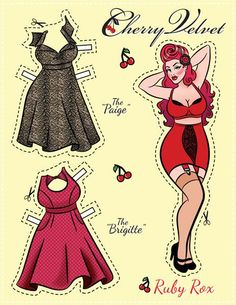 Vintage pin up paper doll - Cherry Velvet