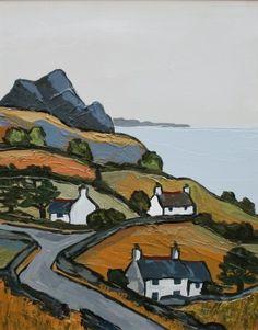 Contemporary Landscape, Landscape Art, Landscape Paintings, Contemporary Printmaking, Landscape Illustration, Illustration Art, Cottage Art, Irish Art, Naive Art