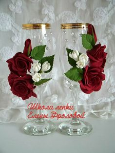 Wedding Wine Glasses, Wedding Wine Bottles, Wedding Champagne Flutes, Clay Flowers, Flower Vases, Decorated Wine Glasses, Bottle Crafts, Glass Ornaments, Wedding Decorations