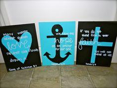 Scripture Art: Heart, Anchor, and Cross. $20.00, via Etsy.