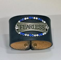 Black Leather Fearless Cuff Bracelet with Blue and by mistydlee, $18.00