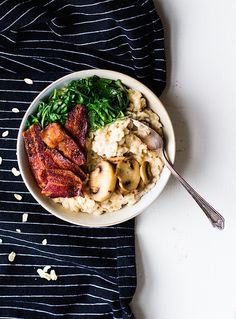 Savory Oatmeal with Garlicky Greens and Bacon {recipe}