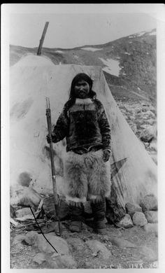 Ak-pood-ah-shaho. Waterproof clothing is important during northern summers to keep people warm and dry. Women sew sealskin parkas and boots (kamiks) using special waterproof stitches. Donald MacMillan 1913-1917, Etah, Northwest Greenland,