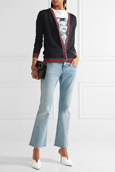 Gucci - Metallic-trimmed Merino Wool Cardigan - Navy - x small