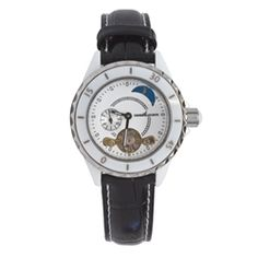 Henri LaPointe ladies automatic watch with white ceramic dial and stainless steel case. Black padded leather band with locking fold over clasp adds to this irresistibly stylish piece. Our Price: $249.00