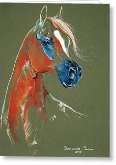 Arabian Horse Pastel Greeting Card by Paulina Stasikowska