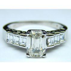 Emerald & Baguette Diamond Engagement Ring