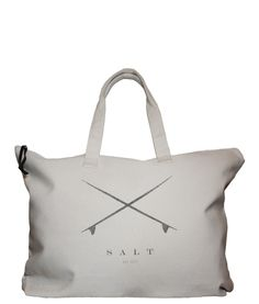 Session Tote from Salt.  $32.00    Hand printed bag made from heavy duty 100% cotton 12 oz. canvas. Bag has a main zippered compartment with an inside zipper pocket, as well as self-fabric handles.