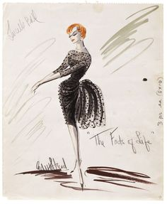 "Edith Head costume sketch for Lucille Ball as ""Kitty Weaver"" in The Facts of Life. Costume Design Sketch, Best Costume Design, Fashion Illustration Sketches, Fashion Sketches, Fashion Drawings, Yiqing Yin, Hollywood Costume, Hollywood Fashion, Hollywood Glamour"
