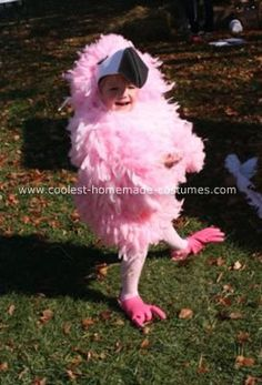 Oh my goodness, look how cute!  I can say that I tried the rubber gloves on my feet when I was a parrot last year and while everyone said they were cute, they did not fit my feet.  LOL  Homemade Flamingo Costume: I made this homemade flamingo costume for my daughter when she was 3.  We have done homemade animal costumes for all of her Halloweens and have been on
