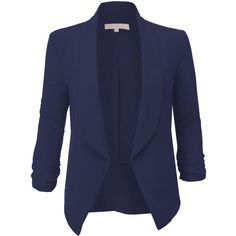 LE3NO Womens Lightweight Ruched 3/4 Sleeve Open Front Blazer Jacket (340 MXN) ❤ liked on Polyvore featuring outerwear, jackets, blazers, tops, coats, blue blazer, 3 4 length sleeve blazer, 3/4 sleeve blazer, light weight jacket and ruched-sleeve blazer
