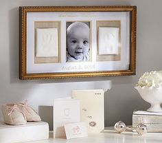 Our triptych lets parents create and display an impression of their child's exquisite hand and foot, along with a photo of baby, creating a keepsake that will be cherished for years. [Promotional Pin]