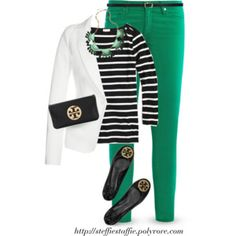White blazer, Black Stripes & Green
