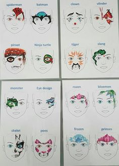 A variety of Face Painting Designs Perfect for a Party.