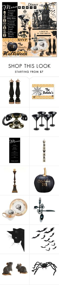 """""""Halloween Party Decor"""" by calamity-jane-always ❤ liked on Polyvore featuring interior, interiors, interior design, home, home decor, interior decorating, Chiarugi, Frontgate, Bliss Studio and Allstate Floral"""