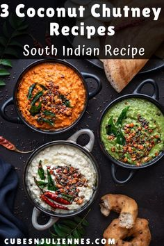 3 varieties of easy and best South Indian coconut chutney recipe with step by step photos. Serve it with dosa, idli, vada, uttapam, pongal and many more south indian breakfast dishes. Kitchen Recipes, Cooking Recipes, Healthy Recipes, Crockpot Recipes, Chickpea Recipes, Rib Recipes, Roast Recipes, Bolognese, Dosa Chutney