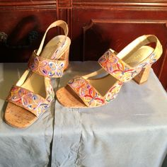 """Bettye Muller embroidered cork sandals The most boho funky and comfortable sandals from designer Bettye Muller. Butterflies in shades of lavender, blue, orange, red and green decorate the straps of these cork sandals. Straps also have some elastic for a more comfortable fit. No wear noticeable on outside of shoes. 4"""" chunky cork heels. Sadly too big for me  Bettye Muller Shoes Sandals"""