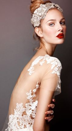 We love this model's bridal look! Red lips, backless lace gown, and a detailed hairpiece are perfect for a Winter Wedding. Courtesy of: Errico Maria 2013 Bridal Collection by Belle The Magazine Wedding Makeup Tips, Bridal Makeup, Bridal Lipstick, Bridal Gowns, Wedding Gowns, Lace Wedding, Wedding Headband, Headband Updo, Chanel Wedding