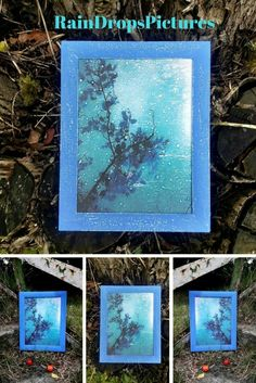 picture frame flowers wall art Rainy Day wall art picture decoupage 3D rain drops interior print Frame no glass Blue window drops Art Painting romantic picture gift her