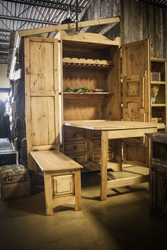 Chuck Wagon Armoire with Fold-Out Table and Benches - $692.00
