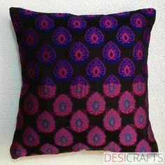 Handmade Silk Pillow Cover - Hot Pink, Blue and Black Silk Weaving | desicrafts - Housewares on ArtFire