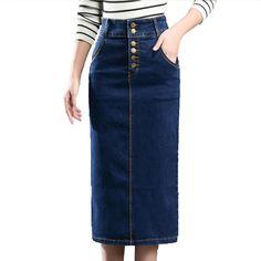 Autumn Summer Women High Waist jean Skirt Stretch Slim Split Sexy Pencil Skirts Womens 2017 Plus Size Long Denim Skirt Skinny //Price: $51 & FREE Shipping //     #new #lookbook