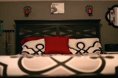 grey, white, black, and red bedroom makeover! BEFORE AND AFTER :)