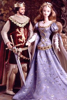 Ken and Barbie as Camelot's king and queen, Arthur and Guinevere