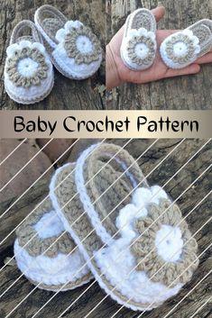 Baby Girl Sandals, Crochet Baby Sandals, Booties Crochet, Crochet Baby Clothes, Baby Girl Shoes, Baby Booties, Baby Clothes Patterns, Baby Patterns, Crochet Patterns