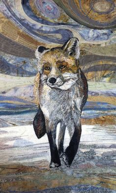 """Textile Art 168251736066881922 - My Owl Barn: Embroidered Textile """"Paintings"""" by Rachel Wright Source by bigskyellen Dog Quilts, Animal Quilts, Thread Art, Thread Painting, Art Fox, Wildlife Quilts, Wildlife Art, Landscape Art Quilts, Abstract Landscape"""