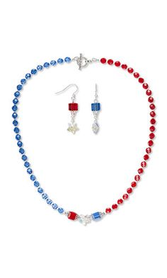 Jewelry Design - Single-Strand Necklace and Earring Set with Swarovski® Crystals, Seed Beads and Silver-Plated Brass Bead Caps - Fire Mountain Gems and Beads