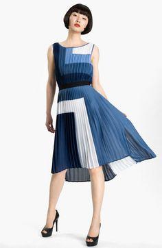BCBGMAXAZRIA Pleated Colorblock Dress, $328