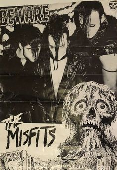 An awesome poster of The Misfits - Glenn Danzig's psychobilly punk rock band - around the time of the release of their 1980 EP Beware! Need Poster Mounts. Rock Posters, Band Posters, Concert Posters, Rock And Roll, Beatles, Rockabilly, Misfits Band, Danzig Misfits, Punk Poster