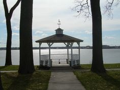 This pretty little park above Muskegon Lake is on my daily walking route. Miss Michigan, Muskegon Michigan, Walking Routes, Daily Walk, Tie Knots, Pretty Little, Gazebo, Outdoor Structures, Pure Products