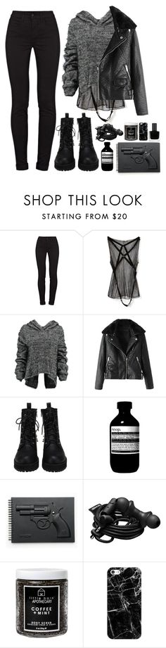 """""""sarah manning"""" by gemmonkey ❤ liked on Polyvore featuring J Brand, Nina Ricci, Taylor, Aesop, Revolver, Urbanears, Little Barn Apothecary, Casetify and RGB Cosmetics"""