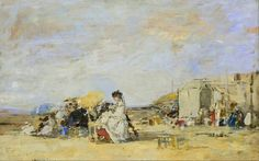 Lady in White on the Beach at Trouville (1869). Eugène-Louis Boudin (French, 1824-1898). Oil on canvas. MuMa. Boudin's oil sketches, here of a lady in white seemingly reading on the beach, were amazingly loose and painterly, and clear inspiration to Claude Monet and the Impressionists more generally.