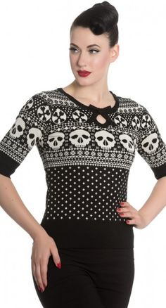 How do you not fall instantly in love with the Yule Jumper in Black and White!?! The black and white skull jacquard upper, and polka dot bodice are the perfect holiday combo.