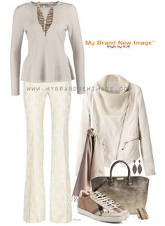 You want to look stylish, sophisticated and be comfortable? Here you go, this outfit works. The silk/wool blend jacquard pants look great with the cashmere peplum jumper and the asymmetric slim lea...