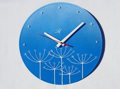 Wall Clock Dill in the Sky, blue wall clock, modern wall clocks, wall clocks with flowers, blue and white wall clock, unique wall clocks. on Etsy, 55,00$