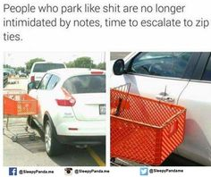 Outfitting my vehicle with a bunch of zip ties just for asshole people that can't park a car!!
