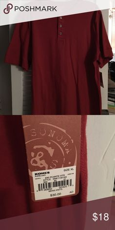 Men's casual t-shirt Brand new! Solid maroon t- shirt. 3 button closure at neck.  XL but could fit XL Tall or XXL. Sonoma Shirts Tees - Short Sleeve