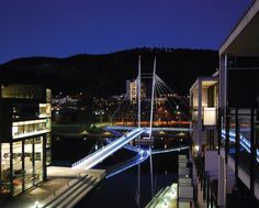 Ypsilon pedestrian and cycling bridge, Drammen Norway .... ♥♥ ....  The connectivity offered by a new pedestrian bridge is an important part of a new urbanising strategy for Drammen.
