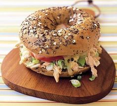 Seeded bagel tuna melt.  Recipe serves 4. Each bagel contains 257 calories