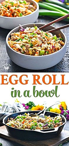 Egg Roll in a Bowl is a healthy one pot meal thats ready in 20 minutes Ground Beef Recipes Ground Turkey Recipes Ground Chicken Recipes Healthy Dinner Recipes Healthy One Pot Meals, Healthy Eating, Healthy Ground Chicken Recipes, Easy Ground Turkey Recipes, Healthy Turkey Recipes, Healthy Chicken Meals, Clean Chicken Recipes, Easy Healthy Dinners, Ground Beef Recipes Asian