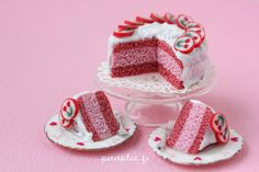 Miniature Pink Cake for Collectors - Cherry Candy - Dollhouse Miniature Food in 1:12 Scale
