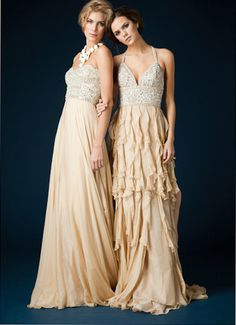 Ruffled Beige two tone evening gown style 9376