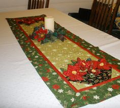 "Fabric of My Life: Festival of small projects - Day 11--here is the continuation of our Festival of small projects - today, it is a very easy but very festive table runner for the holidays, using again some of those 3-D flowers you learned to make on Day 2 (click HERE for that tutorial).My table runner finished 18"" x 56"", but you can vary that to fit your needs."