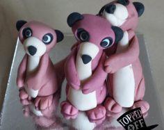 meerkat topper | Gumpaste/fondant edible meerkat fam ily cake topper ...