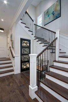 48 Ultimate Farmhouse Staircase Decor Ideas And Design Staircase Railing Design, Wrought Iron Staircase, Wrought Iron Stair Railing, Iron Spindles, Staircase Ideas, Railing Ideas, Metal Spindles Staircase, Iron Spindle Staircase, Iron Staircase Railing